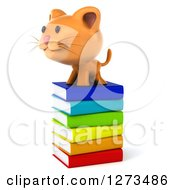 Clipart Of A 3d Ginger Cat Facing Left On A Stack Of Books Royalty Free Illustration