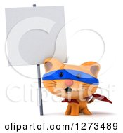 Clipart Of A 3d Super Hero Ginger Cat By A Blank Sign Royalty Free Illustration