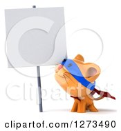 Clipart Of A 3d Super Hero Ginger Cat Looking Up At A Blank Sign Royalty Free Illustration
