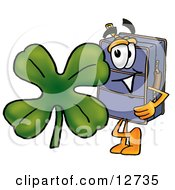 Clipart Picture Of A Suitcase Cartoon Character With A Green Four Leaf Clover On St Paddys Or St Patricks Day