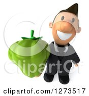 Clipart Of A 3d Short White Businessman Holding Up A Green Bell Pepper Royalty Free Illustration