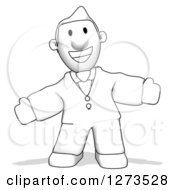 Clipart Of A Grayscale Sketched Businessman Welcoming Royalty Free Illustration