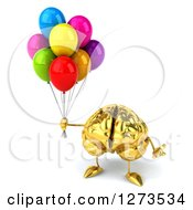 Clipart Of A 3d Gold Brain Character Shrugging And Holding Balloons Royalty Free Illustration