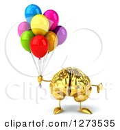 Clipart Of A 3d Gold Brain Character Giving A Thumb Down And Holding Balloons Royalty Free Illustration