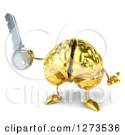 Clipart Of A 3d Gold Brain Character Shrugging And Holding A Key Royalty Free Illustration