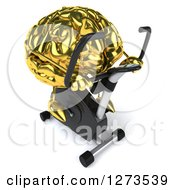 Clipart Of A 3d Gold Brain Character Facing Right And Exercising On A Spin Bike Royalty Free Illustration