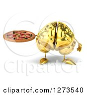 Clipart Of A 3d Gold Brain Character Holding A Pizza Royalty Free Illustration