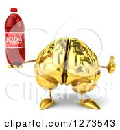 Clipart Of A 3d Gold Brain Character Holding A Soda Bottle And Thumb Up Royalty Free Illustration