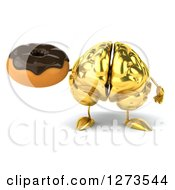 Clipart Of A 3d Gold Brain Character Holding A Donut Royalty Free Illustration