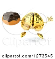 Clipart Of A 3d Gold Brain Character Jumping And Holding A Donut Royalty Free Illustration