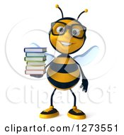 Clipart Of A 3d Bespectacled Bee Character Holding A Stack Of Books And Smiling Royalty Free Illustration