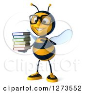 Clipart Of A 3d Bespectacled Bee Character Holding And Pointing To A Stack Of Books Royalty Free Illustration