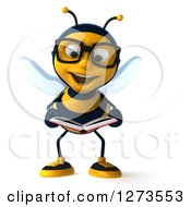 Clipart Of A 3d Happy Bespectacled Bee Character Reading A Book Royalty Free Illustration