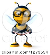 Clipart Of A 3d Unhappy Bespectacled Bee Character Reading A Book Royalty Free Illustration