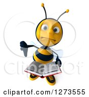 Clipart Of A 3d Bee Character Giving A Thumb Down And Holding An Open Book Royalty Free Illustration