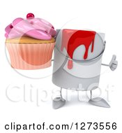3d Can Of Red Paint Character Holding A Thumb Up And Pink Frosted Cupcake