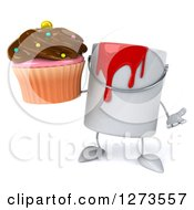 3d Can Of Red Paint Character Shrugging And Holding A Chocolate Frosted Cupcake