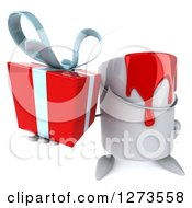 Clipart Of A 3d Can Of Red Paint Character Holding Up A Gift Royalty Free Illustration