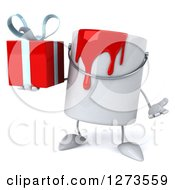 3d Can Of Red Paint Character Shrugging And Holding A Gift