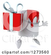 Clipart Of A 3d Can Of Red Paint Character Facing Right Jumping And Holding A Gift Royalty Free Illustration