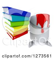 3d Can Of Red Paint Character Holding Up A Stack Of Books