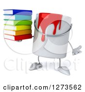 3d Can Of Red Paint Character Shrugging And Holding A Stack Of Books