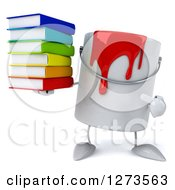 3d Can Of Red Paint Character Holding And Pointing To A Stack Of Books