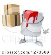 3d Can Of Red Paint Character Shrugging And Holding Boxes
