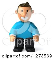 Clipart Of A 3d Casual White Man In A Blue Shirt Looking Down Royalty Free Illustration