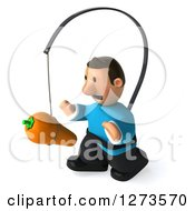 Clipart Of A 3d Casual White Man In A Blue Shirt Facing Left And Chasing A Carrot On A Stick Royalty Free Illustration