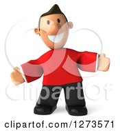 Clipart Of A 3d Welcoming Casual White Man In A Red Shirt Royalty Free Illustration