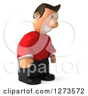 Clipart Of A 3d Casual White Man In A Red Shirt Facing Right And Looking Down Royalty Free Illustration