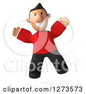 Clipart Of A 3d Jumping Casual White Man In A Red Shirt Royalty Free Illustration
