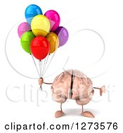 Clipart Of A 3d Brain Character Holding Up A Thumb Down And Party Balloons Royalty Free Illustration