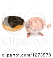 Clipart Of A 3d Brain Character Holding Up A Donut And Thumb Down Royalty Free Illustration