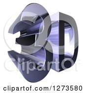 Clipart Of A Chrome 3d Design On White Tilted To The Right Royalty Free Illustration