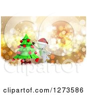 Clipart Of A 3d White Man Decorating A Christmas Tree Over Bokeh And Snow Royalty Free Illustration by KJ Pargeter