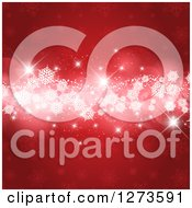 Clipart Of A Red Christmas Snowflake Background With Stars And A White Glowing Strip Royalty Free Vector Illustration