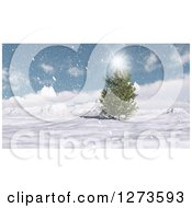 Clipart Of A 3d Evergreen Tree In A Snowy Mountain Landscape On A Sunny Day Royalty Free Illustration