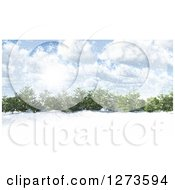 Clipart Of A 3d Grove Of Evergreen Trees In A Snowy Landscape On A Sunny Day Royalty Free Illustration