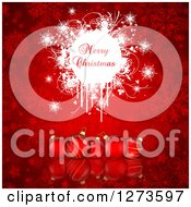 Clipart Of A Merry Christmas Greeting On White Grunge Over 3d Red Baubles And Snowflakes Royalty Free Vector Illustration