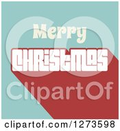 Clipart Of A Retro Merry Christmas Greeting Over Blue And Red Royalty Free Vector Illustration