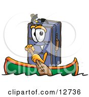 Suitcase Cartoon Character Rowing A Boat