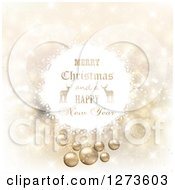 Clipart Of A Merry Christmas And A Happy New Year Greeting With Reindeer In A White Ball Over Gold Royalty Free Vector Illustration by KJ Pargeter