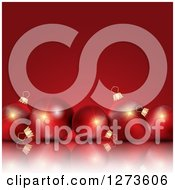Clipart Of A 3d Row Of Christmas Baubles On A Reflective Surface Over Red Royalty Free Vector Illustration