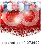 Clipart Of 3d Red White And Blue Christmas Party Balloons Over Red With Flares And Snowflakes On Hills Royalty Free Vector Illustration by KJ Pargeter