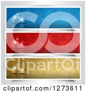 Clipart Of 3d Christmas Baubles And Snowflakes On Blue Red And Gold Website Banners Royalty Free Vector Illustration
