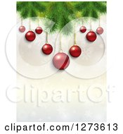 Clipart Of A Background Of 3d Red Christmas Baubles Suspended From Tree Branches Over Snowflakes Royalty Free Illustration