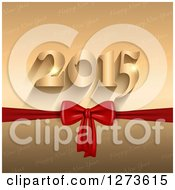 Clipart Of A Gold 2015 And Red Bow Over Happy New Year Text Royalty Free Vector Illustration