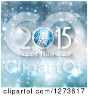 Clipart Of A Suspended 2015 Happy New Year Greeting Over Blue Snowflakes Stars And Flares Royalty Free Vector Illustration